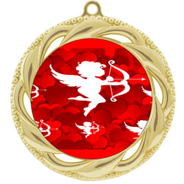 Valentine theme medal..  Includes free engraving and neck ribbon.   cupid - 938g