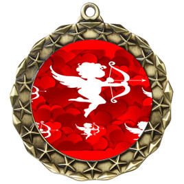 Valentine theme medal..  Includes free engraving and neck ribbon.   cupid - md40ag