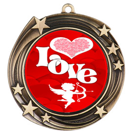 Valentine theme medal..  Includes free engraving and neck ribbon.   Love - 930