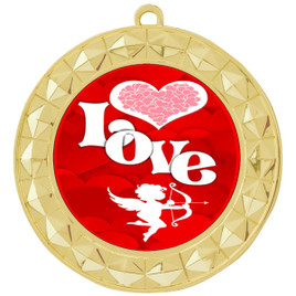 Valentine theme medal..  Includes free engraving and neck ribbon.   Love - 935g