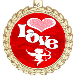 Valentine theme medal..  Includes free engraving and neck ribbon.   Love - m70g