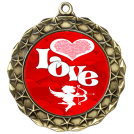 Valentine theme medal..  Includes free engraving and neck ribbon.   Love - md40g