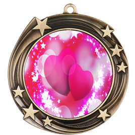 Valentine theme medal..  Includes free engraving and neck ribbon.   pink  hearts - 930