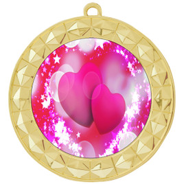 Valentine theme medal..  Includes free engraving and neck ribbon.   pink  hearts - 935g