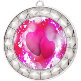 Valentine theme medal..  Includes free engraving and neck ribbon.   pink  hearts - 935s