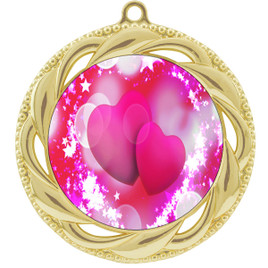 Valentine theme medal..  Includes free engraving and neck ribbon.   pink  hearts - 938g