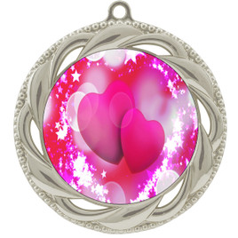 Valentine theme medal..  Includes free engraving and neck ribbon.   pink  hearts - 938s