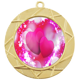 Valentine theme medal..  Includes free engraving and neck ribbon.   pink  hearts - 940