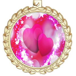 Valentine theme medal..  Includes free engraving and neck ribbon.   pink  hearts - m70g