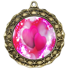 Valentine theme medal..  Includes free engraving and neck ribbon.   pink  hearts - md40g