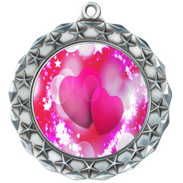 Valentine theme medal..  Includes free engraving and neck ribbon.   pink  hearts - md40s