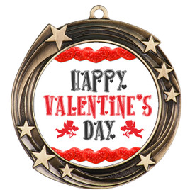 Valentine theme medal..  Includes free engraving and neck ribbon.   vday-930