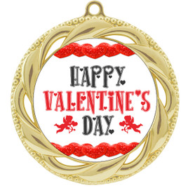 Valentine theme medal..  Includes free engraving and neck ribbon.   vday-938g