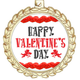 Valentine theme medal..  Includes free engraving and neck ribbon.   vday-m70g