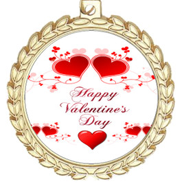 Valentine theme medal..  Includes free engraving and neck ribbon.   vday2-m70g