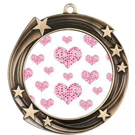Valentine theme medal..  Includes free engraving and neck ribbon.   multi-930