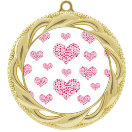 Valentine theme medal..  Includes free engraving and neck ribbon.   multi-938g