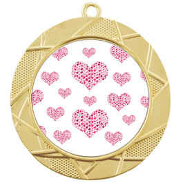 Valentine theme medal..  Includes free engraving and neck ribbon.   multi-940