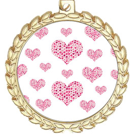Valentine theme medal..  Includes free engraving and neck ribbon.   multi-m70g