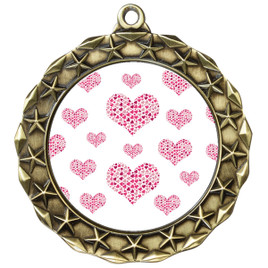 Valentine theme medal..  Includes free engraving and neck ribbon.   multi-md40g