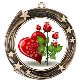 Valentine theme medal..  Includes free engraving and neck ribbon.   Rose-930