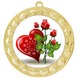 Valentine theme medal..  Includes free engraving and neck ribbon.   Rose-935g