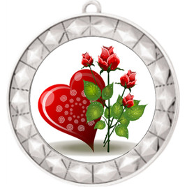 Valentine theme medal..  Includes free engraving and neck ribbon.   Rose-935s