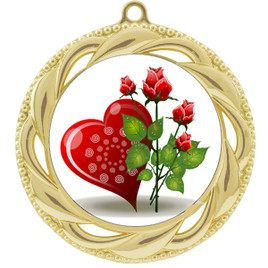 Valentine theme medal..  Includes free engraving and neck ribbon.   Rose-938g