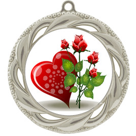 Valentine theme medal..  Includes free engraving and neck ribbon.   Rose-938s
