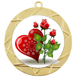Valentine theme medal..  Includes free engraving and neck ribbon.   Rose-940