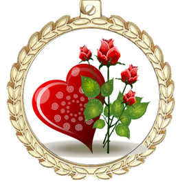 Valentine theme medal..  Includes free engraving and neck ribbon.   Rose-m70g