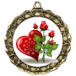 Valentine theme medal..  Includes free engraving and neck ribbon.   Rose-md40g