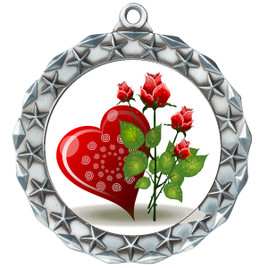 Valentine theme medal..  Includes free engraving and neck ribbon.   Rose-md40s