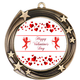Valentine theme medal..  Includes free engraving and neck ribbon.   Cupid and Hearts - 930