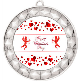Valentine theme medal..  Includes free engraving and neck ribbon.   Cupid and Hearts - 935s