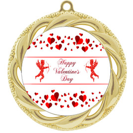 Valentine theme medal..  Includes free engraving and neck ribbon.   Cupid and Hearts - 938g