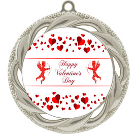 Valentine theme medal..  Includes free engraving and neck ribbon.   Cupid and Hearts - 938s