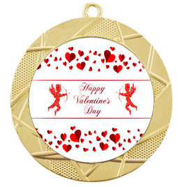 Valentine theme medal..  Includes free engraving and neck ribbon.   Cupid and Hearts - 940