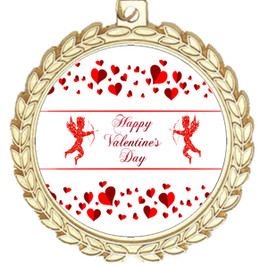 Valentine theme medal..  Includes free engraving and neck ribbon.   Cupid and Hearts -m70g