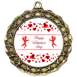 Valentine theme medal..  Includes free engraving and neck ribbon.   Cupid and Hearts -md40g