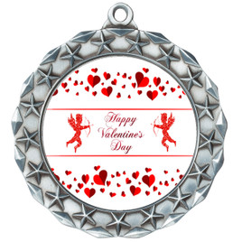 Valentine theme medal..  Includes free engraving and neck ribbon.   Cupid and Hearts -md40s