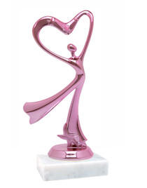 """Pink Flowing Victory with Heart figure on base.  6"""" tall"""