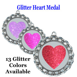 Glitter Heart Medal.  Includes free engraving and neck ribbon.   MD40s