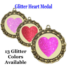Glitter Heart Medal.  Includes free engraving and neck ribbon.   MD40g