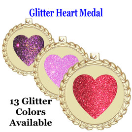 Glitter Heart Medal.  Includes free engraving and neck ribbon.   M70G