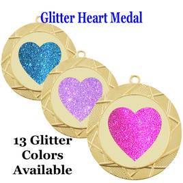 Glitter Heart Medal.  Includes free engraving and neck ribbon.   940