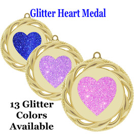 Glitter Heart Medal.  Includes free engraving and neck ribbon.   938g