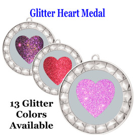 Glitter Heart Medal.  Includes free engraving and neck ribbon.   935s