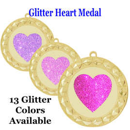 Glitter Heart Medal.  Includes free engraving and neck ribbon.   935g