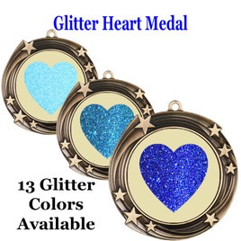 Glitter Heart Medal.  Includes free engraving and neck ribbon.   930